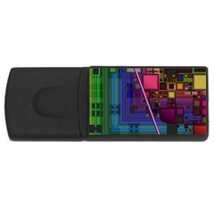 Jewel City, Radiant Rainbow Abstract Urban Usb Flash Drive Rectangular (4 Gb)  by DianeClancy