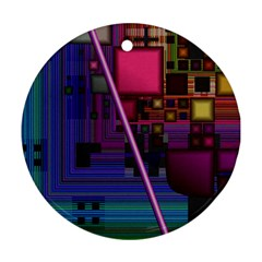 Jewel City, Radiant Rainbow Abstract Urban Round Ornament (two Sides)  by DianeClancy