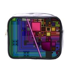 Jewel City, Radiant Rainbow Abstract Urban Mini Toiletries Bags by DianeClancy