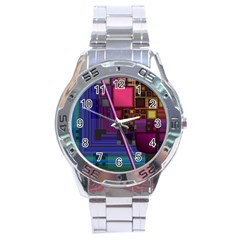 Jewel City, Radiant Rainbow Abstract Urban Stainless Steel Analogue Watch by DianeClancy
