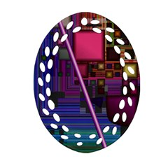 Jewel City, Radiant Rainbow Abstract Urban Oval Filigree Ornament (2 Side)  by DianeClancy