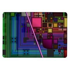 Jewel City, Radiant Rainbow Abstract Urban Samsung Galaxy Tab 10 1  P7500 Flip Case by DianeClancy
