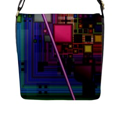 Jewel City, Radiant Rainbow Abstract Urban Flap Messenger Bag (l)  by DianeClancy