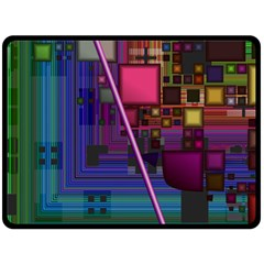 Jewel City, Radiant Rainbow Abstract Urban Double Sided Fleece Blanket (large)  by DianeClancy