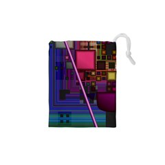Jewel City, Radiant Rainbow Abstract Urban Drawstring Pouches (XS)  by DianeClancy