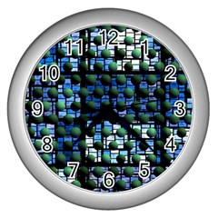 Looking Out At Night, Abstract Venture Adventure (venture Night Ii) Wall Clocks (silver)