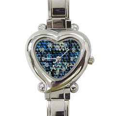 Looking Out At Night, Abstract Venture Adventure (venture Night Ii) Heart Italian Charm Watch by DianeClancy