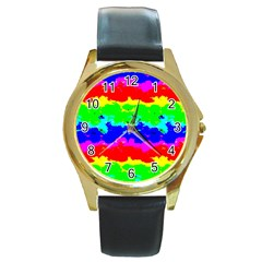 Colorful Digital Abstract  Round Gold Metal Watch by dflcprints