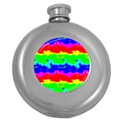 Colorful Digital Abstract  Round Hip Flask (5 Oz) by dflcprints