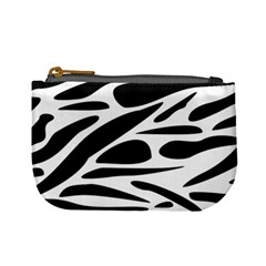 Zebra Stripes Skin Pattern Black And White Mini Coin Purses by CircusValleyMall