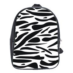 Zebra Stripes Skin Pattern Black And White School Bags(large)  by CircusValleyMall