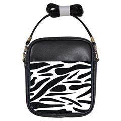 Zebra Stripes Skin Pattern Black And White Girls Sling Bags by CircusValleyMall