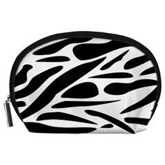 Zebra Stripes Skin Pattern Black And White Accessory Pouches (large)  by CircusValleyMall