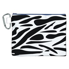 Zebra Stripes Skin Pattern Black And White Canvas Cosmetic Bag (xxl)  by CircusValleyMall
