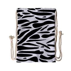 Zebra Stripes Skin Pattern Black And White Drawstring Bag (small) by CircusValleyMall