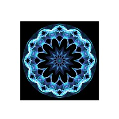 Crystal Star, Abstract Glowing Blue Mandala Satin Bandana Scarf by DianeClancy