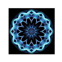 Crystal Star, Abstract Glowing Blue Mandala Small Satin Scarf (square) by DianeClancy