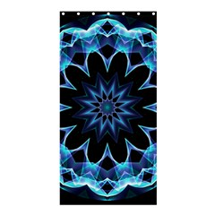 Crystal Star, Abstract Glowing Blue Mandala Shower Curtain 36  X 72  (stall)  by DianeClancy
