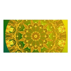 Yellow Green Abstract Wheel Of Fire Satin Shawl by DianeClancy