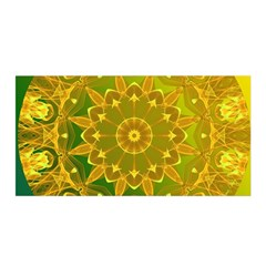 Yellow Green Abstract Wheel Of Fire Satin Wrap by DianeClancy