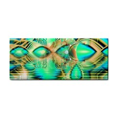 Golden Teal Peacock, Abstract Copper Crystal Hand Towel by DianeClancy