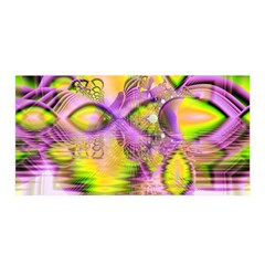 Golden Violet Crystal Heart Of Fire, Abstract Satin Wrap by DianeClancy