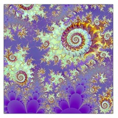 Sea Shell Spiral, Abstract Violet Cyan Stars Large Satin Scarf (square) by DianeClancy