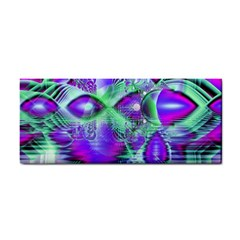 Violet Peacock Feathers, Abstract Crystal Mint Green Hand Towel by DianeClancy