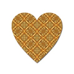 Luxury Check Ornate Pattern Heart Magnet by dflcprints