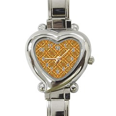 Luxury Check Ornate Pattern Heart Italian Charm Watch by dflcprints
