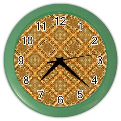 Luxury Check Ornate Pattern Color Wall Clocks by dflcprints