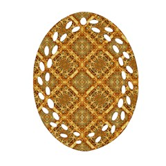 Luxury Check Ornate Pattern Oval Filigree Ornament (2 Side)  by dflcprints