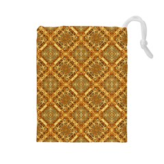 Luxury Check Ornate Pattern Drawstring Pouches (large)  by dflcprints