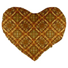 Luxury Check Ornate Pattern Large 19  Premium Flano Heart Shape Cushions by dflcprints