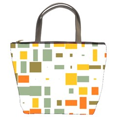 Rectangles And Squares In Retro Colors  	bucket Bag