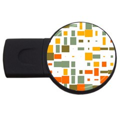 Rectangles And Squares In Retro Colors  usb Flash Drive Round (2 Gb) by LalyLauraFLM