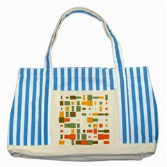 Rectangles And Squares In Retro Colors  			striped Blue Tote Bag by LalyLauraFLM
