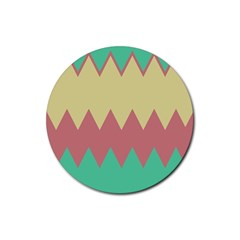 Retro Chevrons     			rubber Round Coaster (4 Pack) by LalyLauraFLM