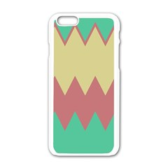 Retro Chevrons     			apple Iphone 6/6s White Enamel Case by LalyLauraFLM