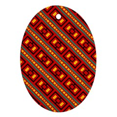 Distorted Stripes And Rectangles Pattern      ornament (oval) by LalyLauraFLM