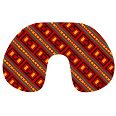 Distorted Stripes And Rectangles Pattern      Travel Neck Pillow by LalyLauraFLM
