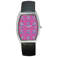 Floral Collage Revival Barrel Style Metal Watch by dflcprints