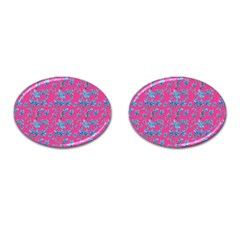 Floral Collage Revival Cufflinks (oval) by dflcprints