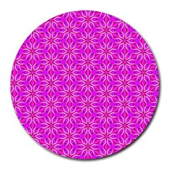 Pink Snowflakes Spinning In Winter Round Mousepads by DianeClancy