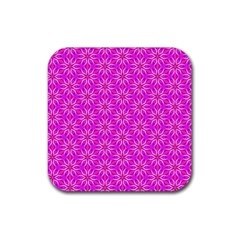 Pink Snowflakes Spinning In Winter Rubber Square Coaster (4 Pack)  by DianeClancy