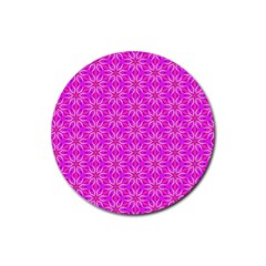 Pink Snowflakes Spinning In Winter Rubber Round Coaster (4 Pack)  by DianeClancy