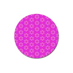 Pink Snowflakes Spinning In Winter Magnet 3  (round) by DianeClancy