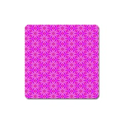 Pink Snowflakes Spinning In Winter Square Magnet by DianeClancy