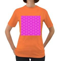 Pink Snowflakes Spinning In Winter Women s Dark T Shirt by DianeClancy