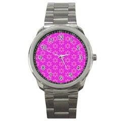 Pink Snowflakes Spinning In Winter Sport Metal Watch by DianeClancy